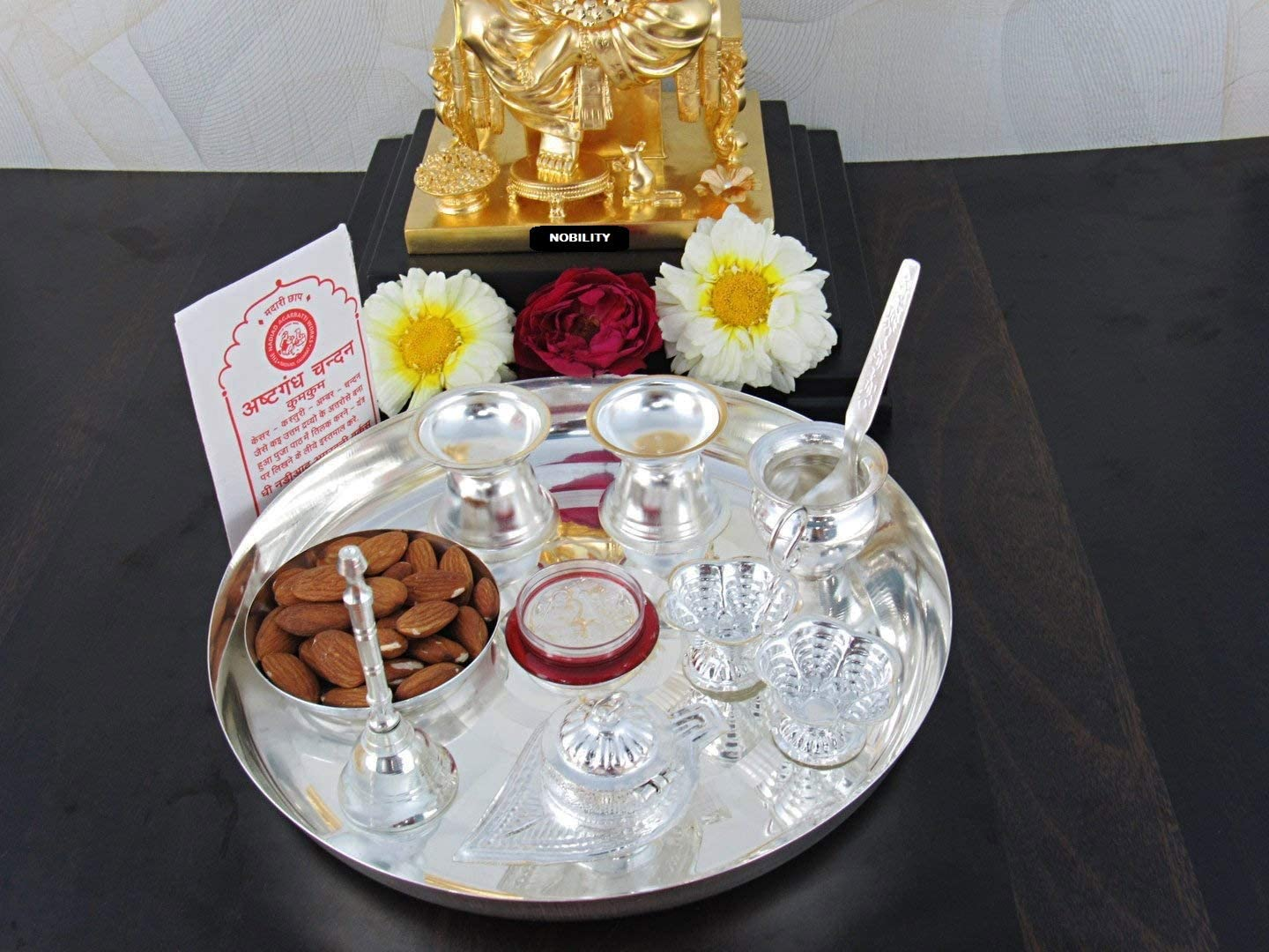 Wedding Return Gift Size: 12 Inch Nobility Silver Plated Pooja Thali Set Puja Thali Decorative Classic Occasional Gift