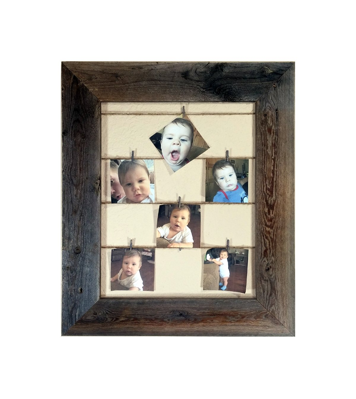 d0d39aabf8d Amazon.com - Reclaimed Rustic Barnwood Twine Collage Photo Frame - 12 Mini  Clothes Pins Included -