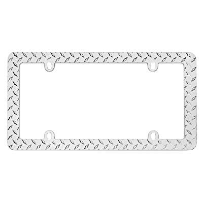Cruiser Accessories 30830 Diamond Plate License Plate Frame, Chrome: Automotive