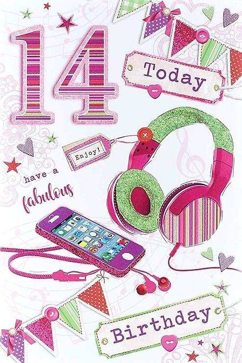 Tarjeta de cumpleaños para niña de 14 años - Teléfono rosa ...