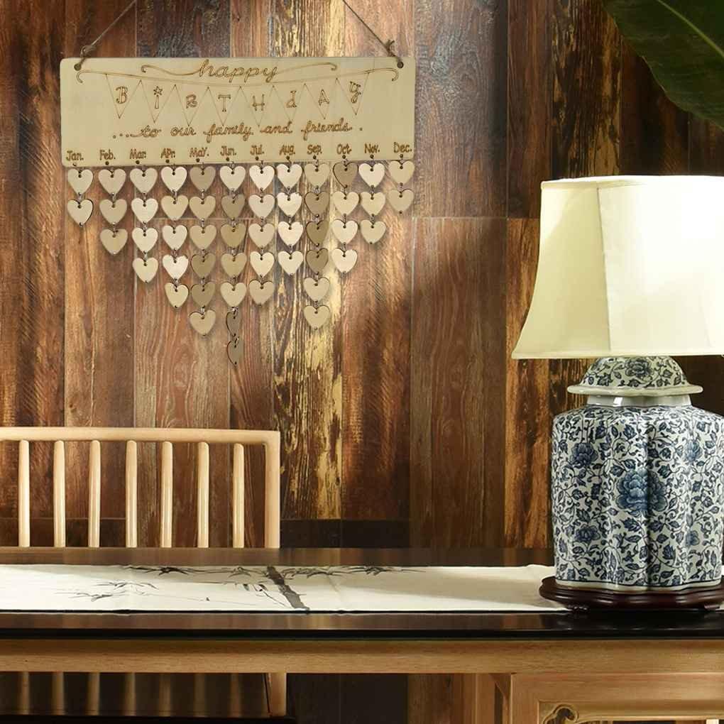 Floridivy Alles Gute zum Geburtstag h/ängenden DIY Holz Kalender Kalendar Erinnerung Brett Plaque-Zeichen-Haus-Dekoration-Anh/änger Tag