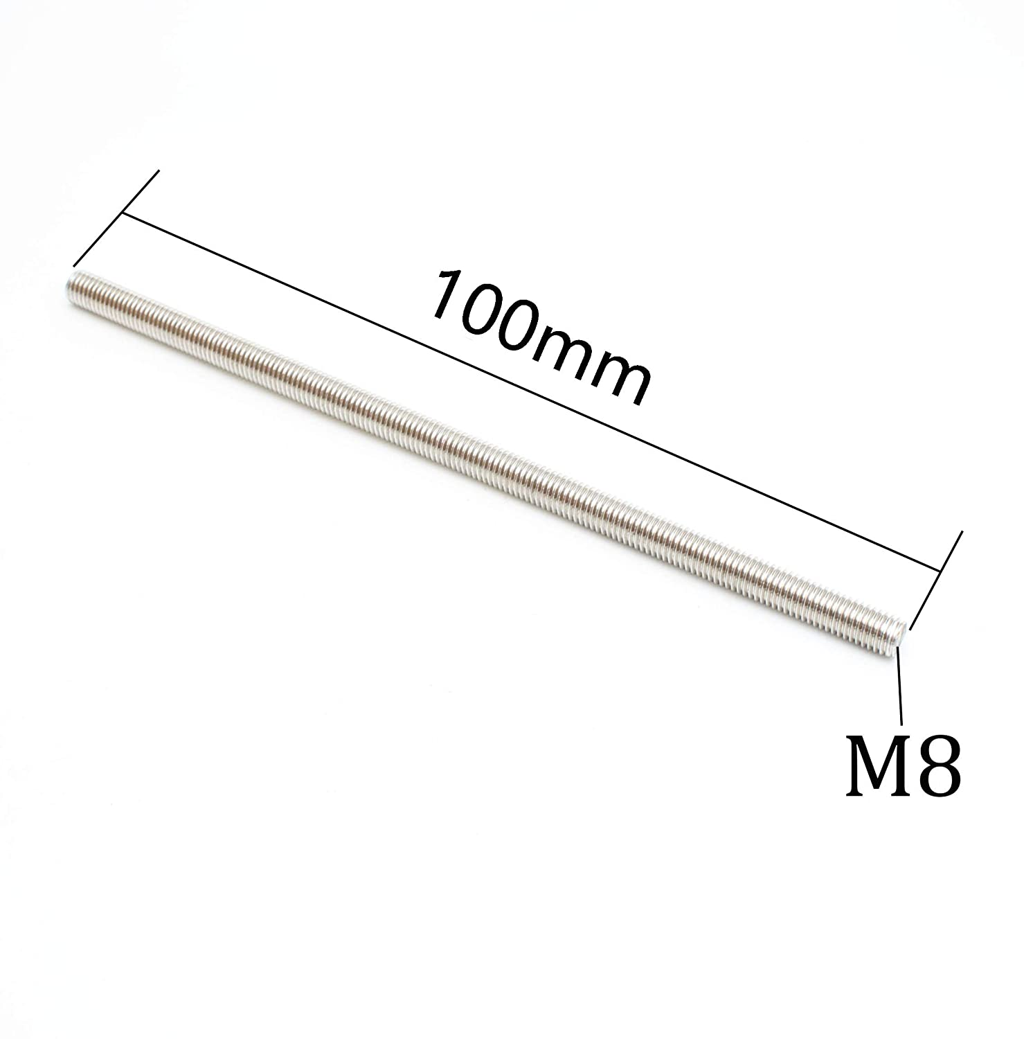 Smartsails M8 x 100mm,304 Stainless Steel Full Threaded Rod 5 Pieces Right Hand Thread