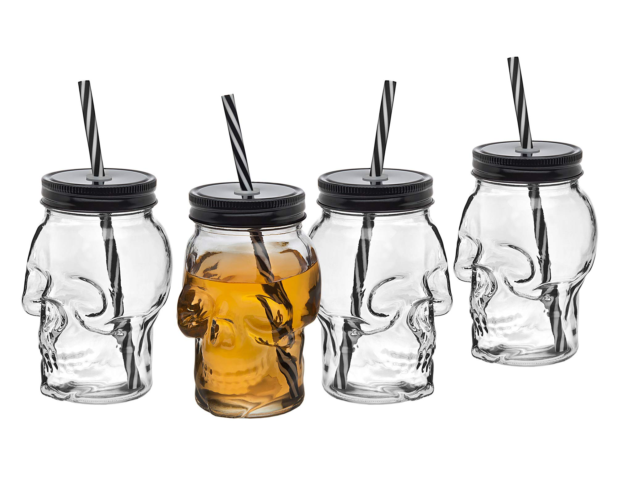 Skull Mason Jar Mug Glass Tumbler Cup with Cover and Straw - 16oz, Set of 4 by Studio by Godinger