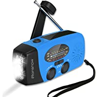 (Upgraded Version) iRonsnow Solar Emergency NOAA Weather Radio Dynamo Hand Crank Self Powered AM FM WB Radios 1 LED…