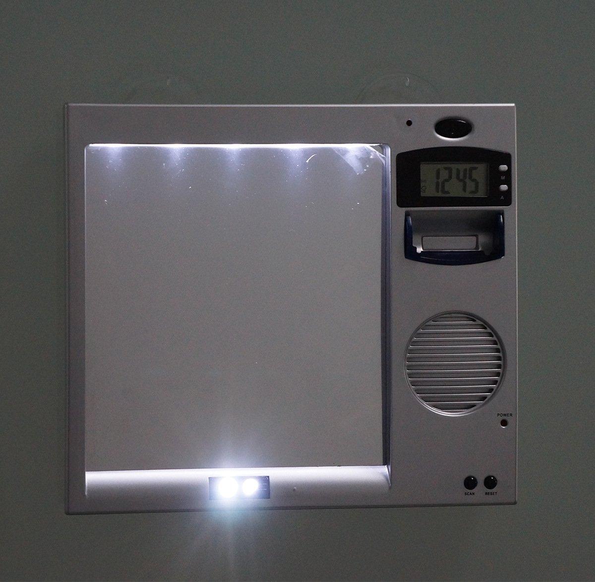 Amazon.com: Led Shaving Mirror Anti-Fog Lighted Shaver Mirror Combination  Shelf & Clock & Radio Fogless Mirror Led Lights For Bathroom Shower Room  Shaver ...
