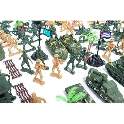 122pcs Juguetes Juegos Ejército Combate Soldado Establece 6cm Lugar Militar Desierto: Hogar
