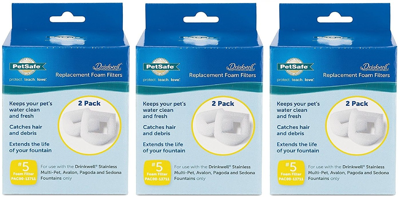 Drinkwell PetSafe 3 Pack of Replacement Foam Filter for 360 Lotus Pet Fountain, 2 Filters Per Pack