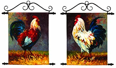 Manual Roosters Hand Painted Canvas Wall Hangings Set, 16.25 X 19-Inch