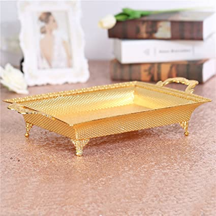 Rectangular Serving Trays Platter Small Gold Centerpiece Decorative Bowl  Plate Dish With Handles Metal Accents Ornate