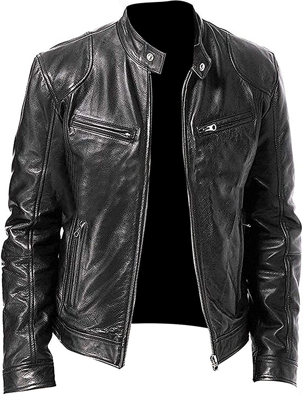 JUNMAONO Biker Jacket Chaqueta para Hombre Moda Transpirable Manga ...