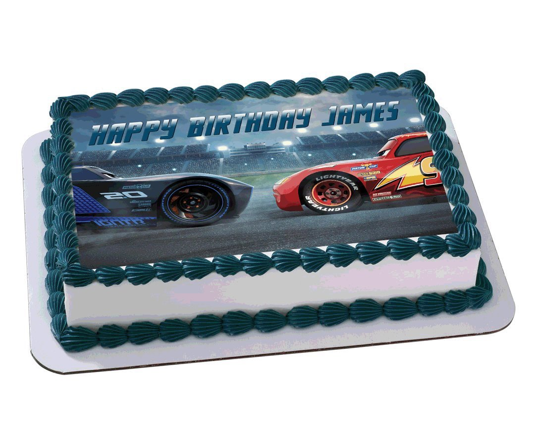 Lightning MCqueen Cars 3 Disney Quarter Sheet Edible Photo Birthday Cake Topper Personalized 1 4 Amazon Grocery Gourmet Food