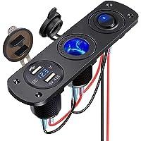 Thlevel 4-i-1 billaddare omkopplarpanel, dubbel USB-laddare 12V 4,2A + LED voltmeter + på/av vippströmbrytare…
