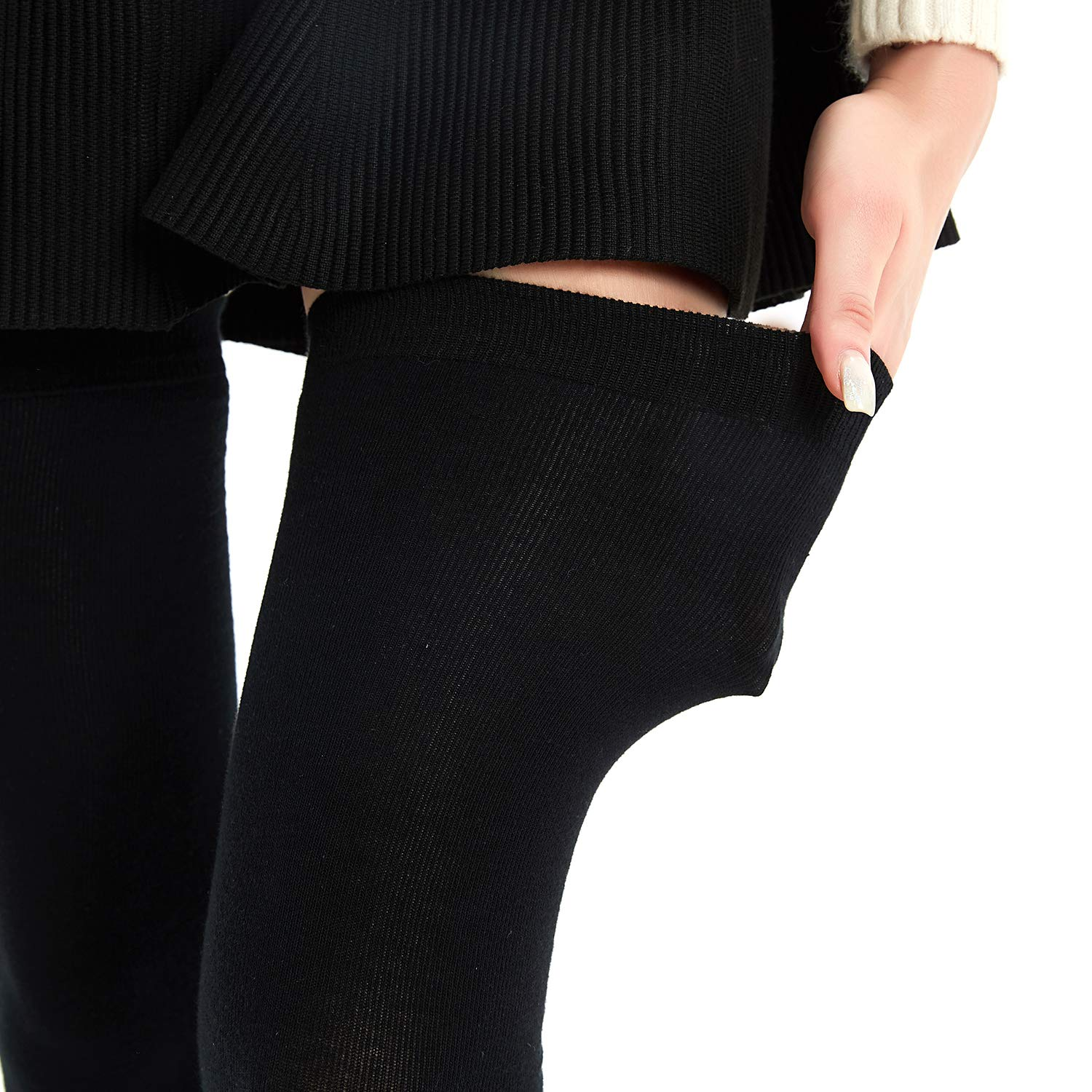 Kayhoma Extra Long Cotton Stripe Thigh High Socks Over the Knee High Stockings