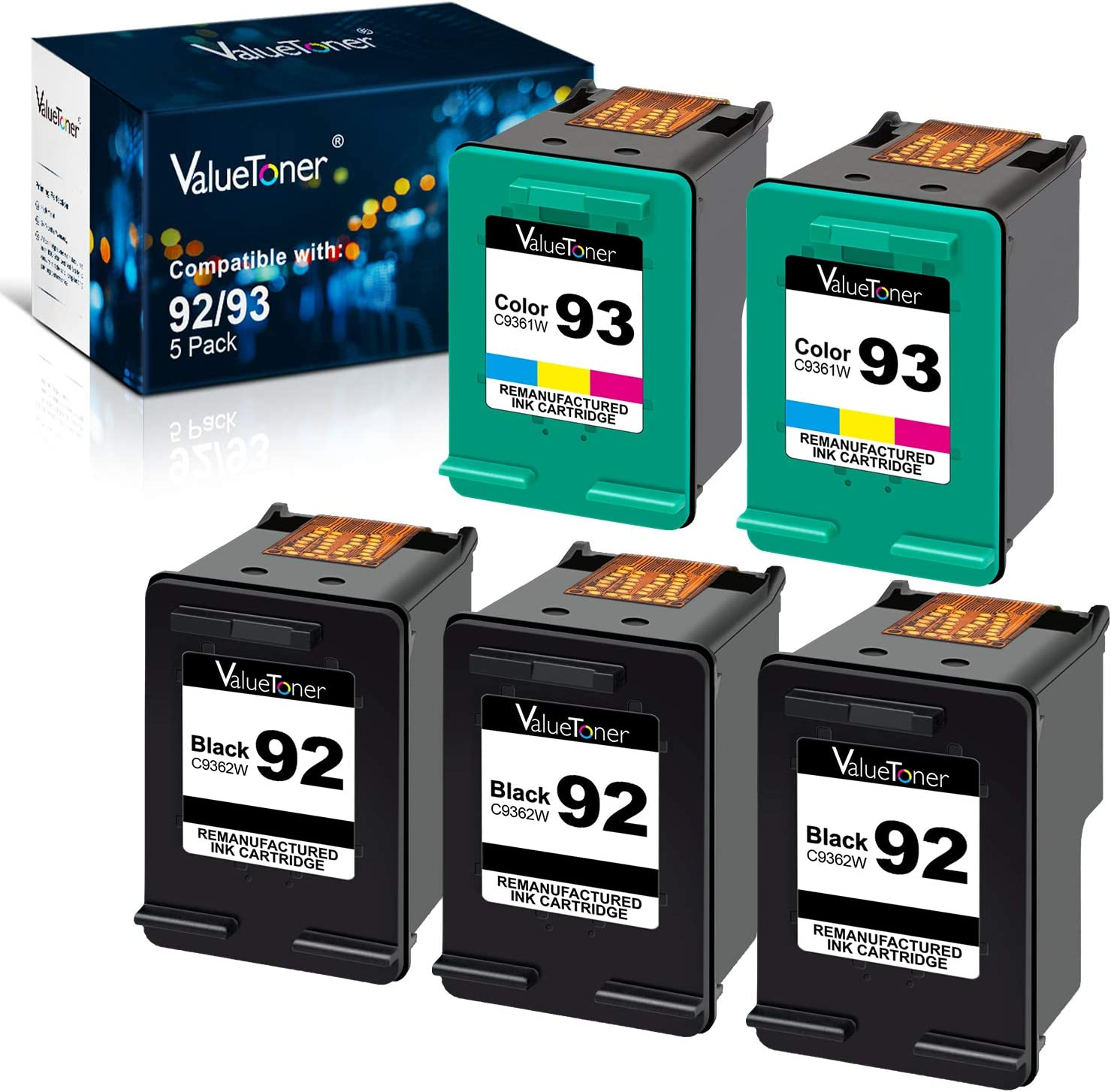 Valuetoner Remanufactured Ink Cartridge Replacement for HP 92 93 C9362WN C9361WN for Deskjet 5420 5420v 5440 5440v 5440xi 5442 5443 Photosmart 7850 C3100 C3110 (3 Black, 2 Tri-Color, 5 Pack)