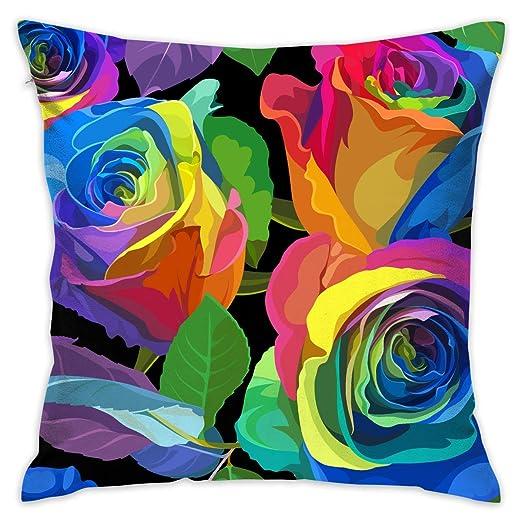 Coloridas Flores de Rosa Funda de Almohada Decorativa Funda ...
