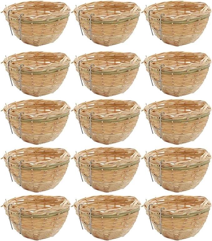GIAOYAO 15X Hecho a Mano de Mimbre de bambú de Mimbre Nido de Nido pequeña Caja de Nido de pájaros para Colgar la Jaula