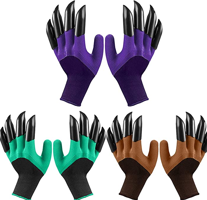 DALARAN 3 Pairs Garden Gloves Waterproof Garden Gloves with Claw for Digging Planting Best Gardening Gifts for Women Men (3pairs, Purple Green Brown)