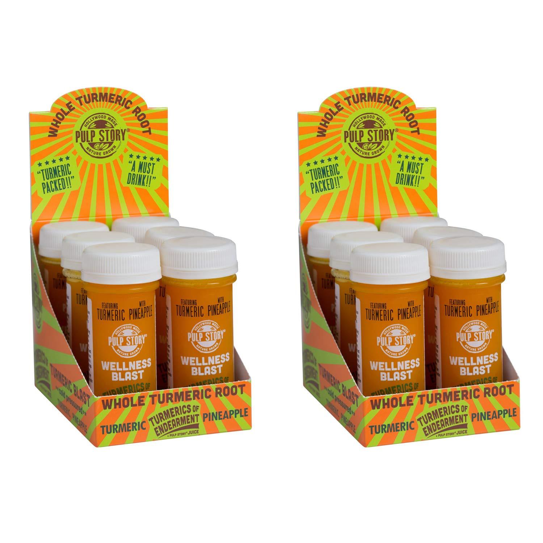 Cold Pressed Juice Shots - Pineapple & Turmeric Juice - Organic Health & Wellness Blast - Turmerics Of Endearment - 2 Oz Single Servings, 12Count - By Pulp Story