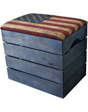 LIZA PREMIUM WOODEN STORAGE STOOL BENCH (PETROLEUM BLUE), for Shoes. Organiser, Pouffe, Toy Box Chest. Vintage Style with Folding Soft Seat Cushion. Solid Nordic Wood - 50 x 45 x 36 cm (US Retro Flag)