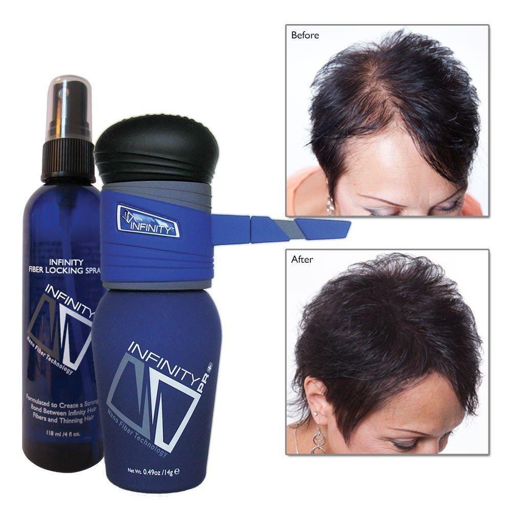 Infinity Hair Fiber Kit - Pump Applicator & Locking Spray - Hair Building - for Men & Women - Dark Brown, 14g by Infinity