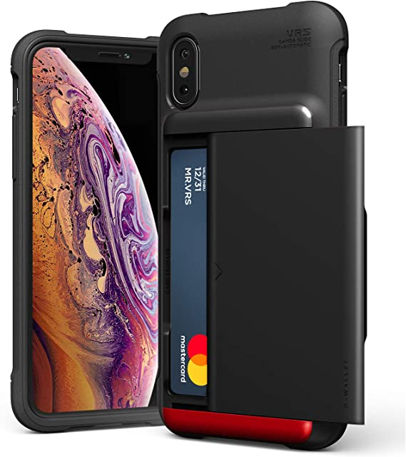 iPhone Xs Case, VRS Design Damda Glide Shield Protective TPU Semi-Auto Slide Slim Shockproof Credit Card Slot Wallet Case Compatible with Apple iPhone X (2017) / iPhone Xs (2018)