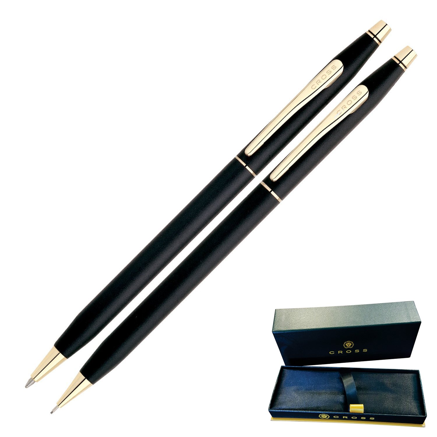 Dayspring Pens - Engraved / Personalized CROSS Classic Century Black Pen and Pencil Set, Gold Trim 250105. Custom Engraved Fast!