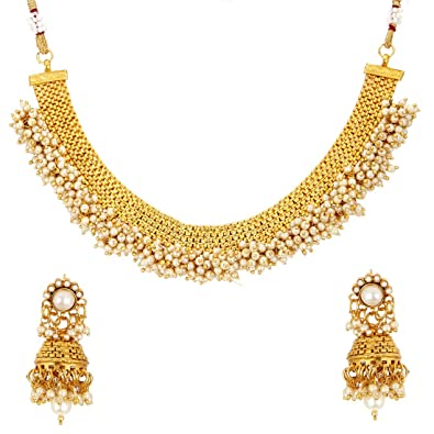 0858412296da5 Zeneme Latest Traditional Temple Coin Necklace Set/Jewellery Set with  Earrings for Women