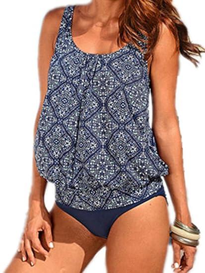 5f5c28ad74f46 Crazycatz@Women Two Piece Blouson Sporty Tankini Set Plus size Swimwear  Blue Floral (S