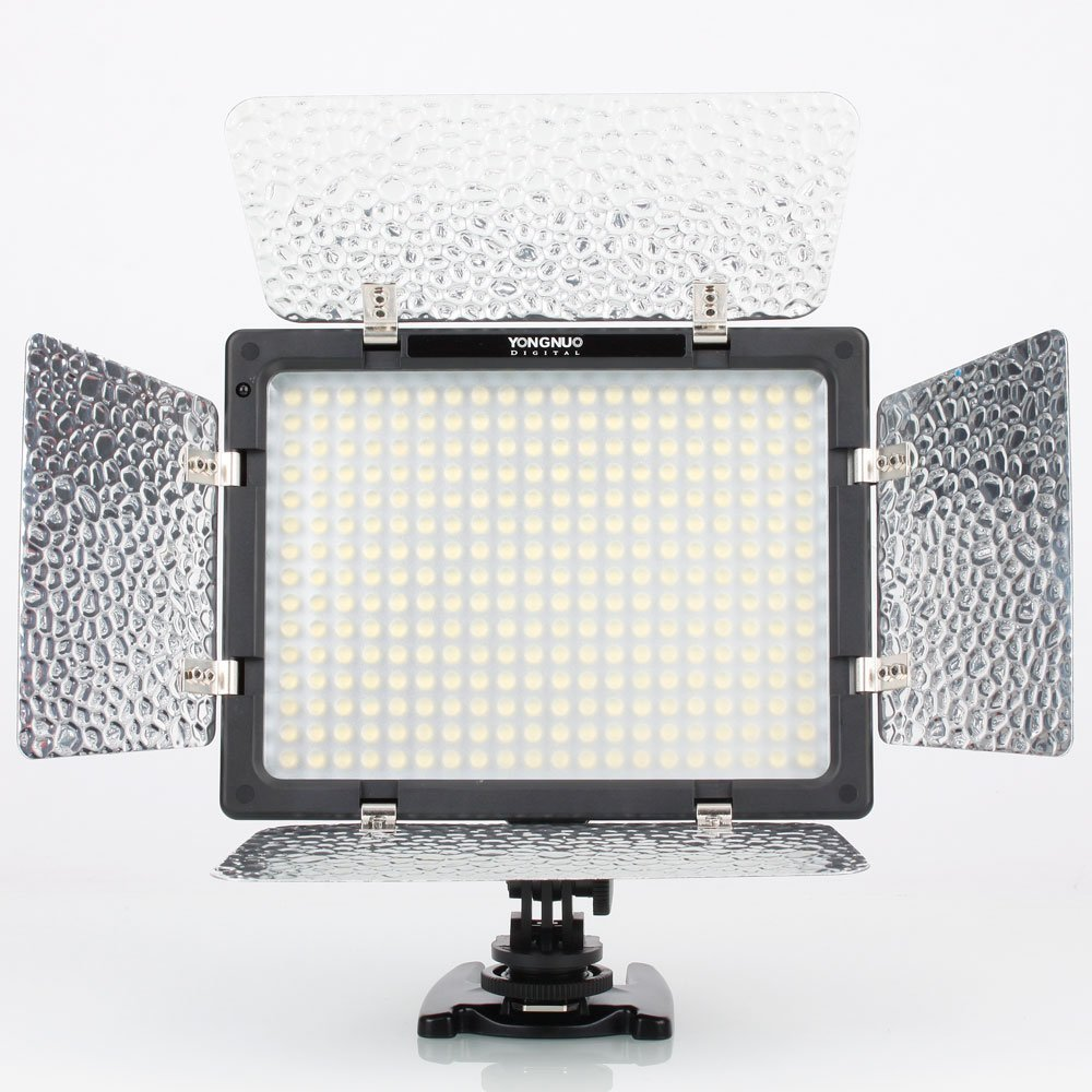 Yongnuo Professional Led Video Light Flash Yn300 With 200w Lamp Flasher 300pcs Lamps 4 Color Sheets For Dslr Camera Canon Eos Camcorder Batteries