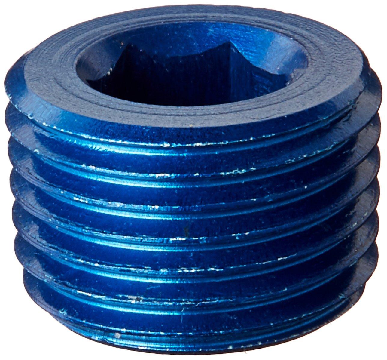 Aeroquip FCM3685 Blue Anodized Aluminum 1/8 NPT Allen Head Pipe Plugs - Pack of 2