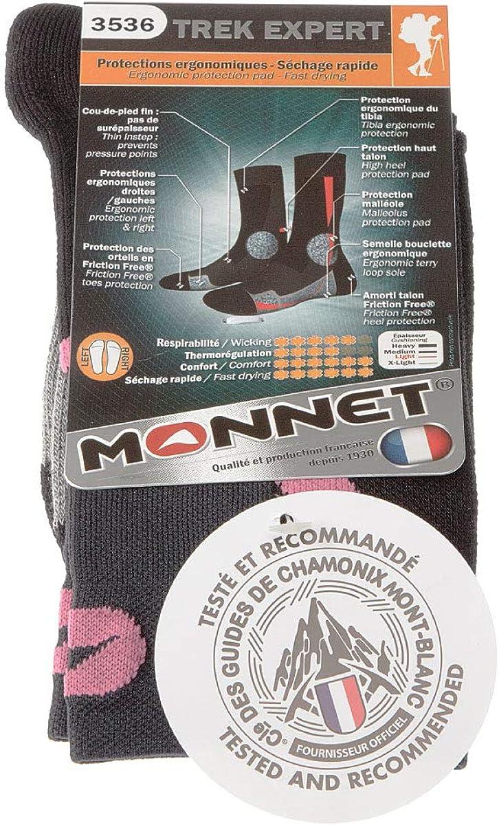 MONNET Chaussette Niveau mollet Jarrette Trek Expert Fine Anti transpiration Pointe renforc/ée Talon renforc/é Alpinisme 1 paire Semelle bouclette