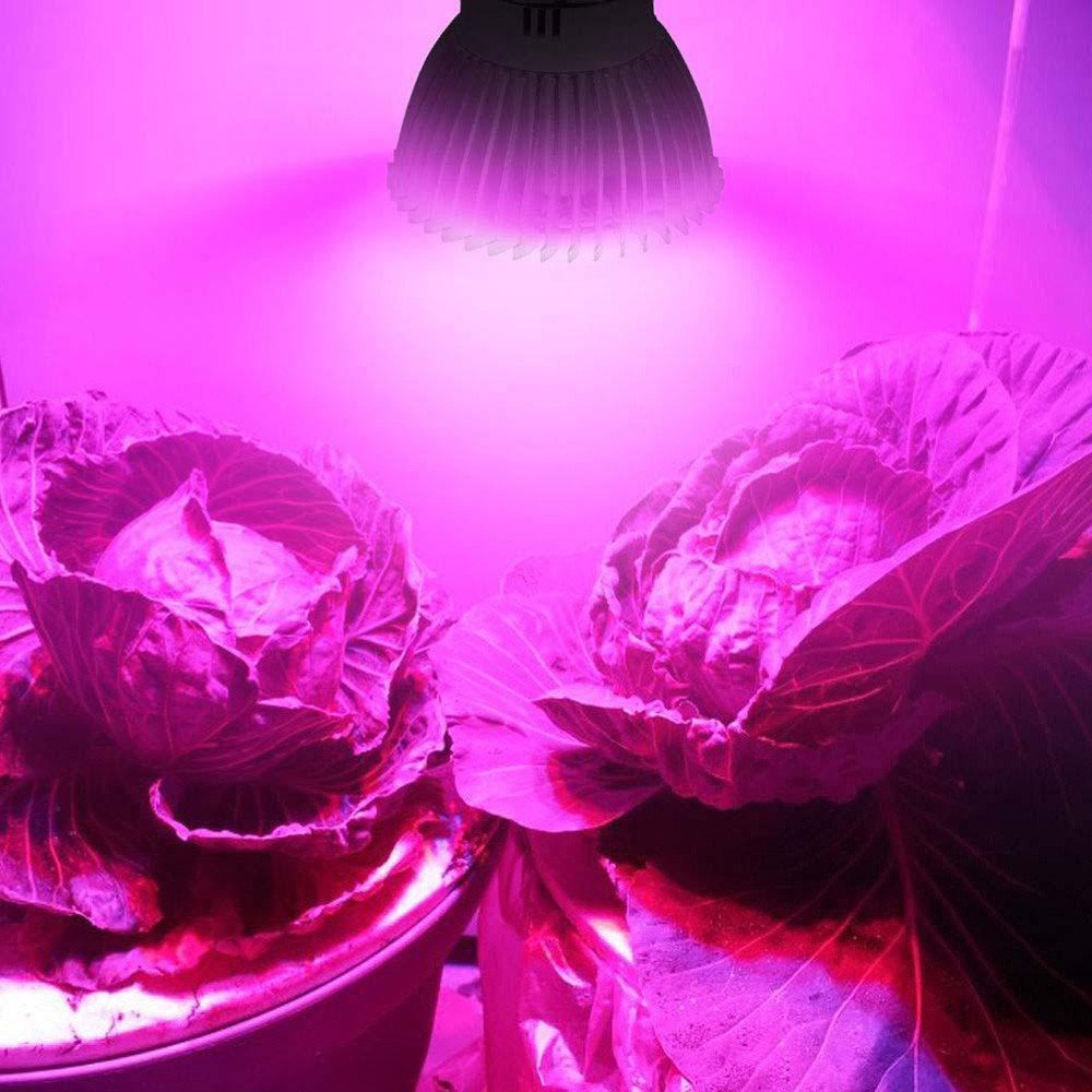 CapsA 28W E27 LED Grow Light Grow Lamp Bulbs Plant Lights Full Spectrum Double Head Lotus Lamp (White)