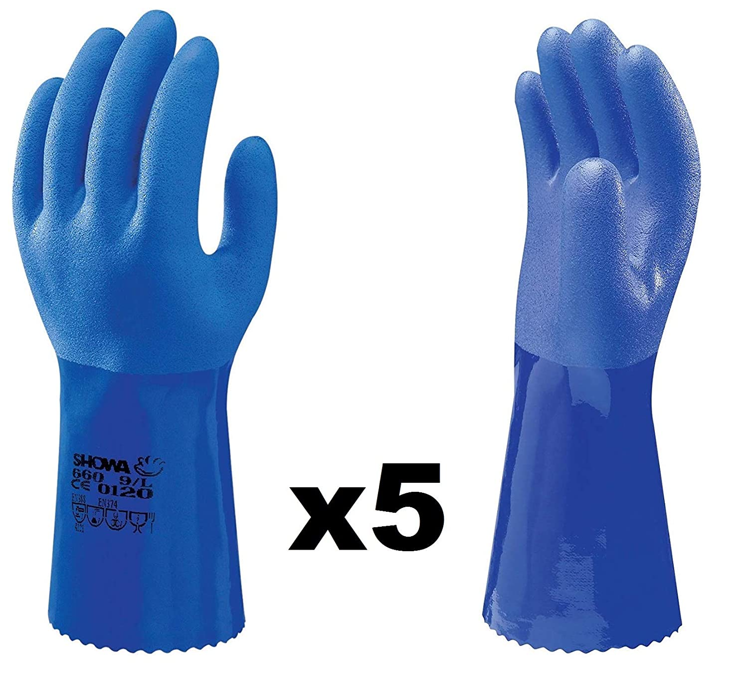 Showa 660 PVC Oil Resistant Chemical Protection Work Long Gloves
