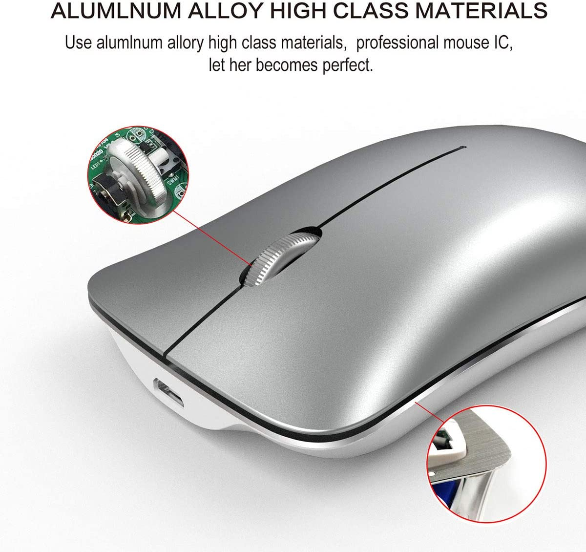 Slim Silent Click Rechargable 2.4G Cordless Mice 1600 DPI USB Optical Office Mouse for Notebook PC Laptop Computer MacBook,Silver WANGJIANGLI Wireless Mouse