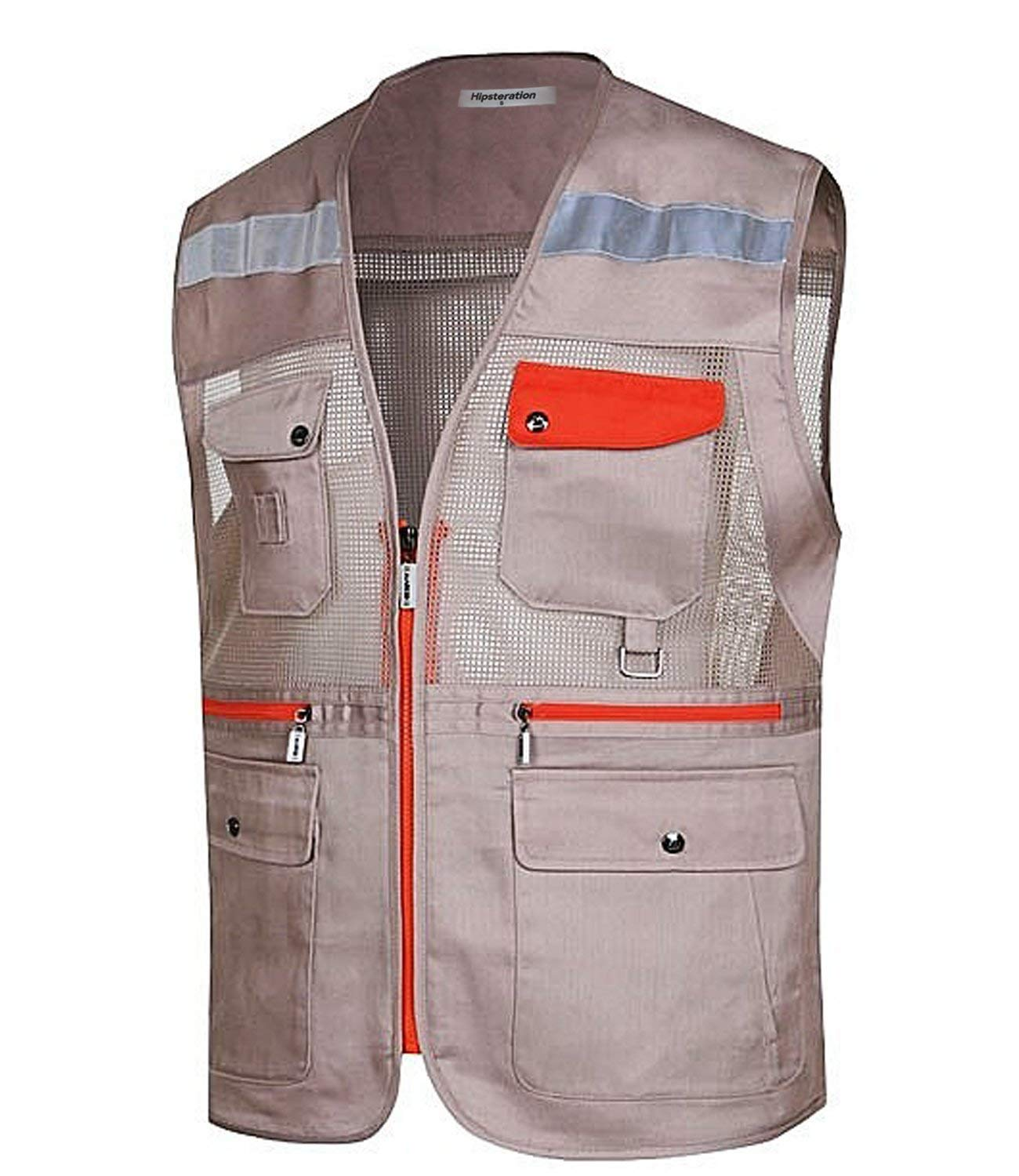 Hipsteration Men's Casual Outdoor Multi Pockets Utility Travel Fishing Hunting Reflective Vest (MOVN209) Beige, XS