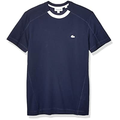 Lacoste Men's Short Sleeve Striped Pique Pima Ultra Leger Regular Fit T-Shirt, Navy Blue/White, Medium | .com