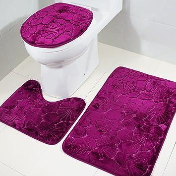 Badematten Set , Rosa Schleife 3er Badgarnitur Badezimmer Matte Set Dusch  Bade Matte Vorleger Teppich