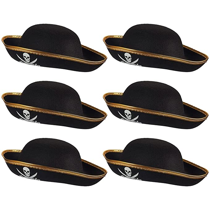 c0c323bd187 Amazon.com  Blue Panda Kids Pirate Hat - 6 Pack Tricorn Hats