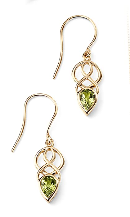 Elements Gold 9ct Yellow Gold Garnet Pear Drop Celtic Style Earrings