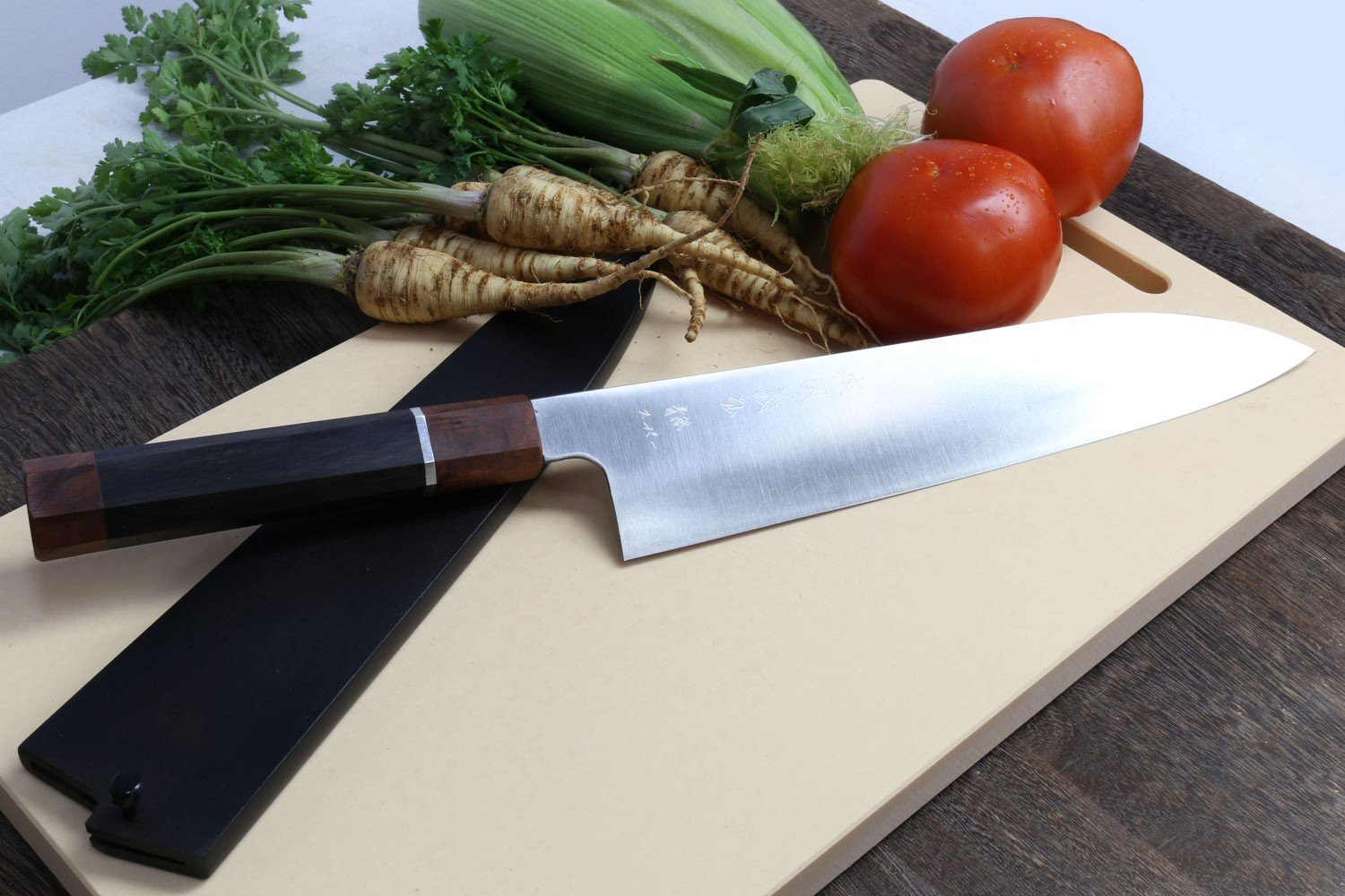 Yoshihiro Super Blue High Carbon Steel Stainless Clad Gyuto Japanese Chefs Knife Ebony handle with Sterling Silver ring, with Nuri Saya Cover 10.5'' (270mm)