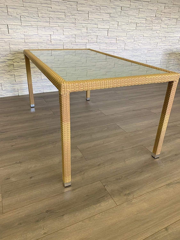 Focus Gartentisch 160x90 Polyrattan Glasplatte Tisch Esstisch Gartenmöbel