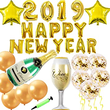 zsnice 2019 happy new year christmas party decorations banner huge size champagne goblet and bottle foil