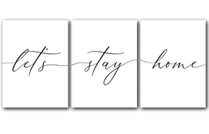 Let's Stay Home, Unframed, 18 x 24 Inches, Set of 3, Posters, Minimalist Art Typography Art, Bedroom Wall Art, Romantic Wall Decor