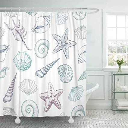 Emvency Shower Curtain White Shell Seashells Marine Illustrations Of Engraved Line Colorful Aquatic Curtains Sets