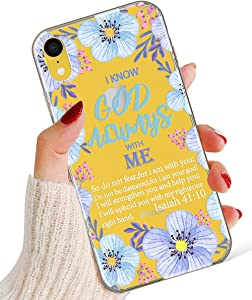 iPhone XR Case for Girly,Stunning Women Girls Lavender Flower Floral Bible Verse Isaiah 41:10 God Always with Me Power Case for iPhone XR,Hybrid Protective Clear Case