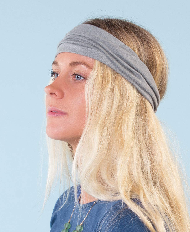 Black Soul Flower Womens Boho Headband Made in the USA Organic Cotton Stretchy Wide Half Bandeau Accessory