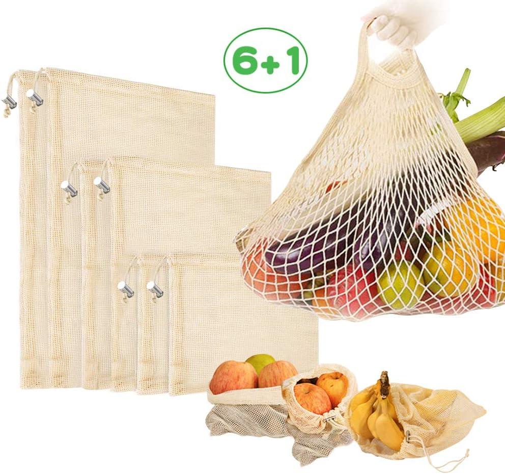 Reutilizables Ecológicas Bolsas de Comida para Fruta,Verduras Juguetes y Libros-Bolsas de Comestibles Hechas de Algodón Orgánico para una Compra sin Residuos-Ligeras,con Cordón 7 Set