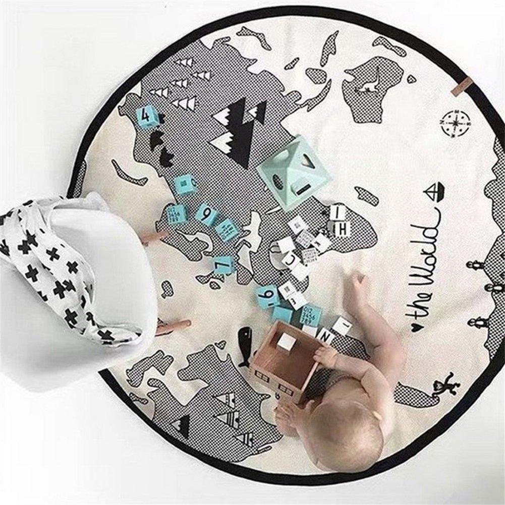 Coton Pour Enfant Rond Rampants De Sol Tapis De Jeu Jouets Jeu Aventure Carte Du Monde Pliable Tapis BéBé Ruick