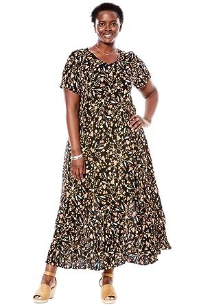Woman Within Plus Size Petite Crinkle Dress, Black Floral Vine, M