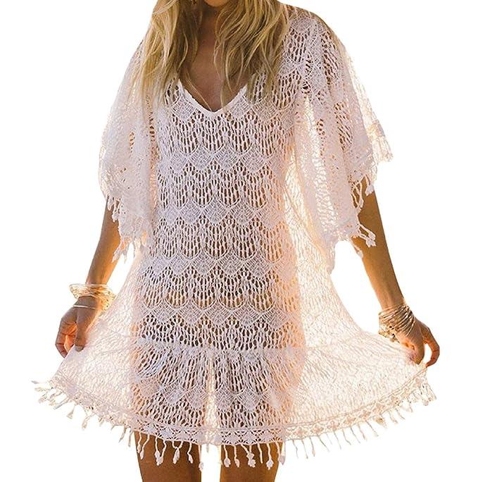 8c27b0bed9 Bestyou Women's White Lace Crochet Mini Dress Fringe Bathing Suit Cover up  Tunic Tops Swimwear (